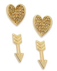 Vera Bradley | Metallic 2-pc. Set Pavé Heart And Arrow Stud Earrings | Lyst