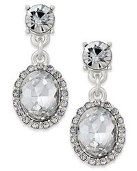 Charter Club | Metallic Silver-tone Crystal Drop Earrings | Lyst