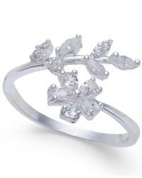 INC International Concepts - Metallic Silver-tone Crystal Flower & Leaf Ring - Lyst