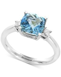 Effy Collection | Aquamarine (2-1/10 Ct. T.w.) And Diamond (1/10 Ct. T.w.) Ring In 14k White Gold | Lyst