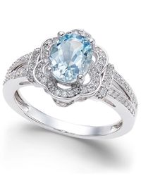 Macy's | Blue Aquamarine (9/10 Ct. T.w.) And Diamond (1/3 Ct. T.w.) Ring In 14k White Gold | Lyst