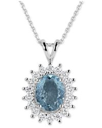 Macy's | Blue Aquamarine (2-1/2 Ct. T.w.) And Diamond (3/4 Ct. T.w.) Oval Pendant Necklace In 14k White Gold | Lyst