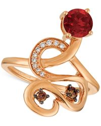 Le Vian   Metallic Raspberry Rhodolite® (9/10 Ct. T.w.) And Diamond (1/6 Ct. T.w.) Ring In 14k Rose Gold   Lyst