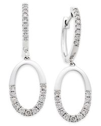 Macy's - Metallic Diamond Open Hoop Drop Earrings (1/2 Ct. T.w.) In 14k White Gold - Lyst