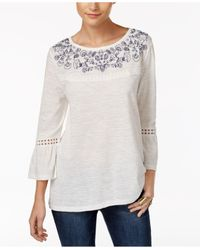 Style & Co.   White Boat-neck Embroidered Top   Lyst