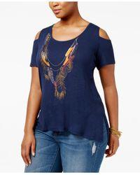 Jessica Simpson | Blue Trendy Plus Size Cold-shoulder T-shirt | Lyst