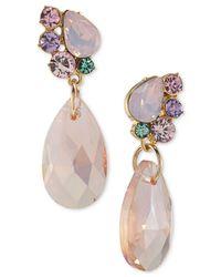 Carolee | Metallic Gold-tone Stone And Crystal Drop Earrings | Lyst