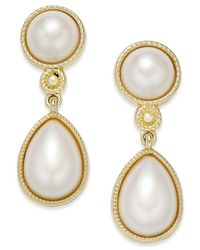 Charter Club | Metallic Gold-tone Imitation Pearl Drop Earrings | Lyst