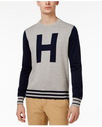 Tommy Hilfiger Gray Men's Colorblocked Varsity-inspired Cotton Sweater for men