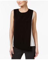 Calvin Klein - Black Asymmetrical Colorblocked Top - Lyst