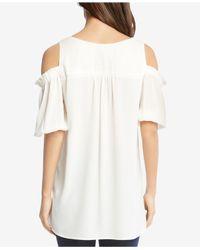 Karen Kane - White Asymmetrical Cold-shoulder Top - Lyst