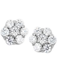 Wrapped in Love - Metallic Diamond Cluster Stud Earrings (1/2 Ct. T.w.) In 14k White Gold - Lyst