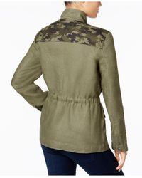 INC International Concepts - Green Embellished Linen Utility Jacket - Lyst