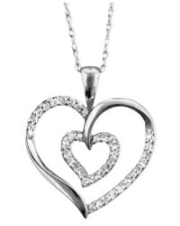 Macy's - Metallic 14k White Gold Pendant, Diamond (1/4 Ct. T.w.) - Lyst