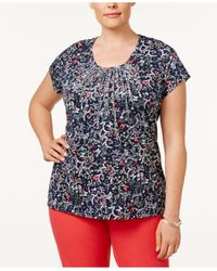 Charter Club | Blue Plus Size Cotton Metallic Pintucked Top | Lyst