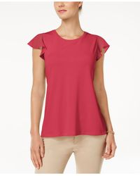 Charter Club | Red Flutter-sleeve Top | Lyst