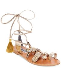 Steve Madden | Multicolor Women's Rambel Pom-pom Lace-up Sandals | Lyst