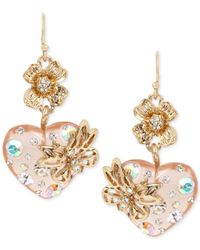 Betsey Johnson | Metallic Gold-tone Multi-stone Floral Heart Drop Earrings | Lyst