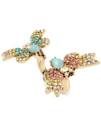 Betsey Johnson | Metallic Gold-tone Multi-crystal Butterfly Ring | Lyst