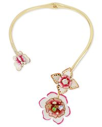 Betsey Johnson | Metallic Gold-tone Multi-crystal Garden Theme Hinged Open Collar Necklace | Lyst