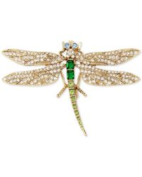 Betsey Johnson | Metallic Gold-tone Multi-crystal Dragonfly Pin | Lyst