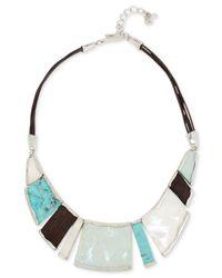 Robert Lee Morris | Metallic Multi-stone Leather Statement Necklace | Lyst