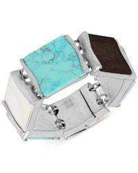 Robert Lee Morris   Metallic Silver-tone Wood & Shell Magnetic Flex Bracelet   Lyst
