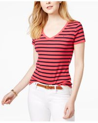 Tommy Hilfiger - Red Cotton Striped Flag T-shirt - Lyst