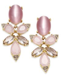 kate spade new york | 14k Gold-plated Pink Stone Crystal Cluster Drop Earrings | Lyst