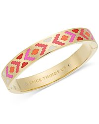 kate spade new york | Metallic Gold-tone Cubic Zirconia & Colored Enamel Hinged Bangle Bracelet | Lyst