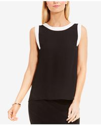 Vince Camuto | Black Colorblocked Blouse | Lyst