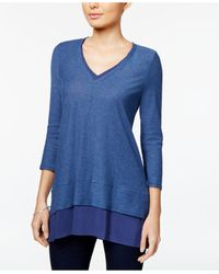 Vince Camuto | Blue Layered-look V-neck Top | Lyst