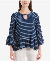 Max Studio - Blue Cotton Striped Keyhole Top - Lyst