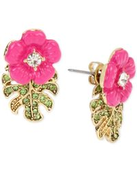 Betsey Johnson | Pink Gold-tone Tropical Flower Front And Back Earrings | Lyst