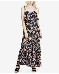 Guess Black Indie Printed Lace Maxi Dress