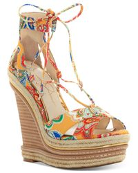 Jessica Simpson - Multicolor Adyson Lace-up Wedge Sandals - Lyst