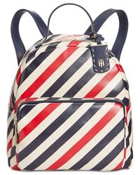 Tommy Hilfiger - Blue Julia Diagonal Coated Stripe Dome Small Backpack - Lyst