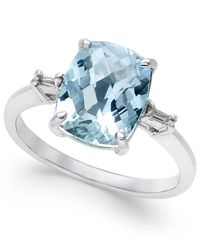 Macy's | Blue Aquamarine (2-1/2 Ct. T.w.) And Diamond Accent Ring In Sterling Silver | Lyst