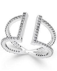 Danori   Metallic Silver-tone Cubic Zirconia Parallel Pavé Ring   Lyst