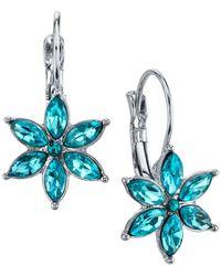 2028 - Metallic Silver-tone Floral Crystal Drop Earrings - Lyst