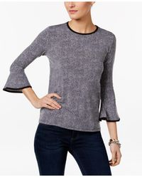 Michael Kors | Black Petite Printed Bell-sleeve Top | Lyst