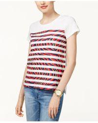 Michael Kors   White Petite Cotton Striped Zebra-print T-shirt   Lyst