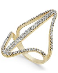 INC International Concepts | Metallic Gold-tone Pavé Double Point Ring | Lyst