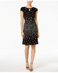 Tahari   Black Keyhole Dot Jersey Sheath Dress   Lyst