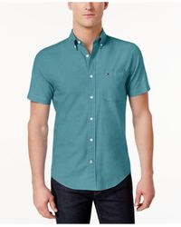 Tommy Hilfiger - Blue Men's Wainwright Short-sleeve Oxford Shirt for Men - Lyst
