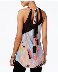 RACHEL Rachel Roy - Multicolor Printed Tie-back Top - Lyst
