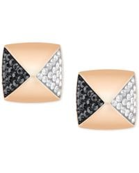 Swarovski | Metallic Rose Gold-tone Clear And Black Pavé Square Stud Earrings | Lyst