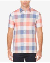 Perry Ellis | Blue Men's Buffalo-plaid Short-sleeve Shirt for Men | Lyst