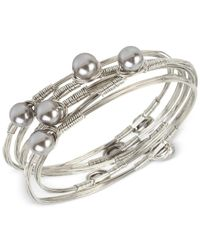 INC International Concepts | Metallic 5-pc. Set Imitation Pearl Bangle Bracelets Bh013gld Bh014slv Bh015ros | Lyst