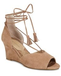 Adrienne Vittadini | Natural Marcey Lace-up Wedges | Lyst
